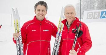 Sportstadtrat Kurt Hohensinner (li) und Sportamts-Chef Gerhard Peinhaupt testeten die freigegebene Loipe gleich selbst | Fischer