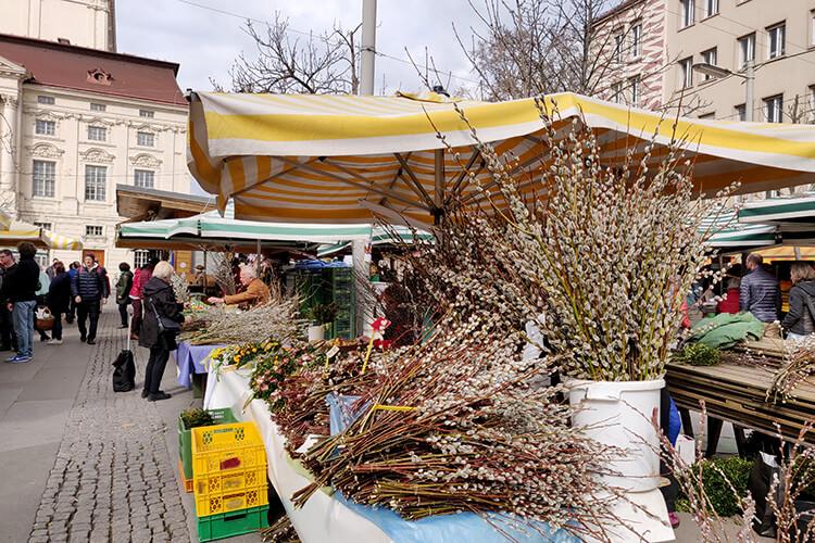 Bauernmarkt am Kaiser-Josef-Platz werden zur Osterzeit Palmkatzerl feilgeboten