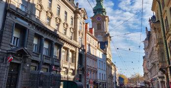 "Grazer Herrengasse - Blick Richtung ""Am Eisernen Tor"" bzw. Jakominiplatz"