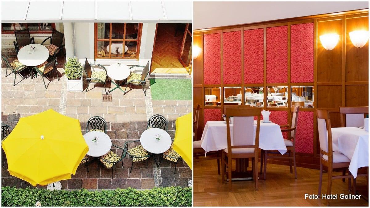 Frühstücksraum und Terrasse im Hotel Gollner in der Grazer Innenstadt