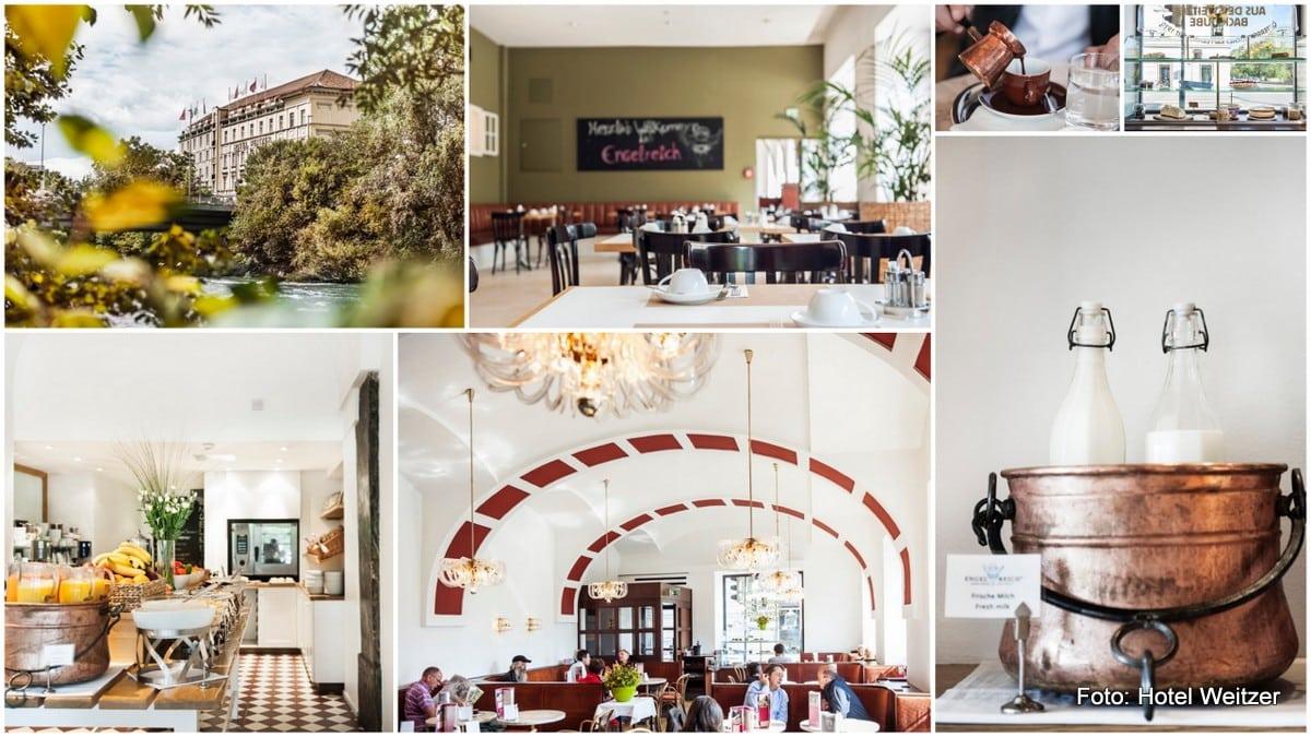 Frühstück im Hotel Weitzer: a la card Frühstück im Kaffee Weitzer und Frühstücksbuffet im Engelreich - Innenansicht und Buffet Frühstück