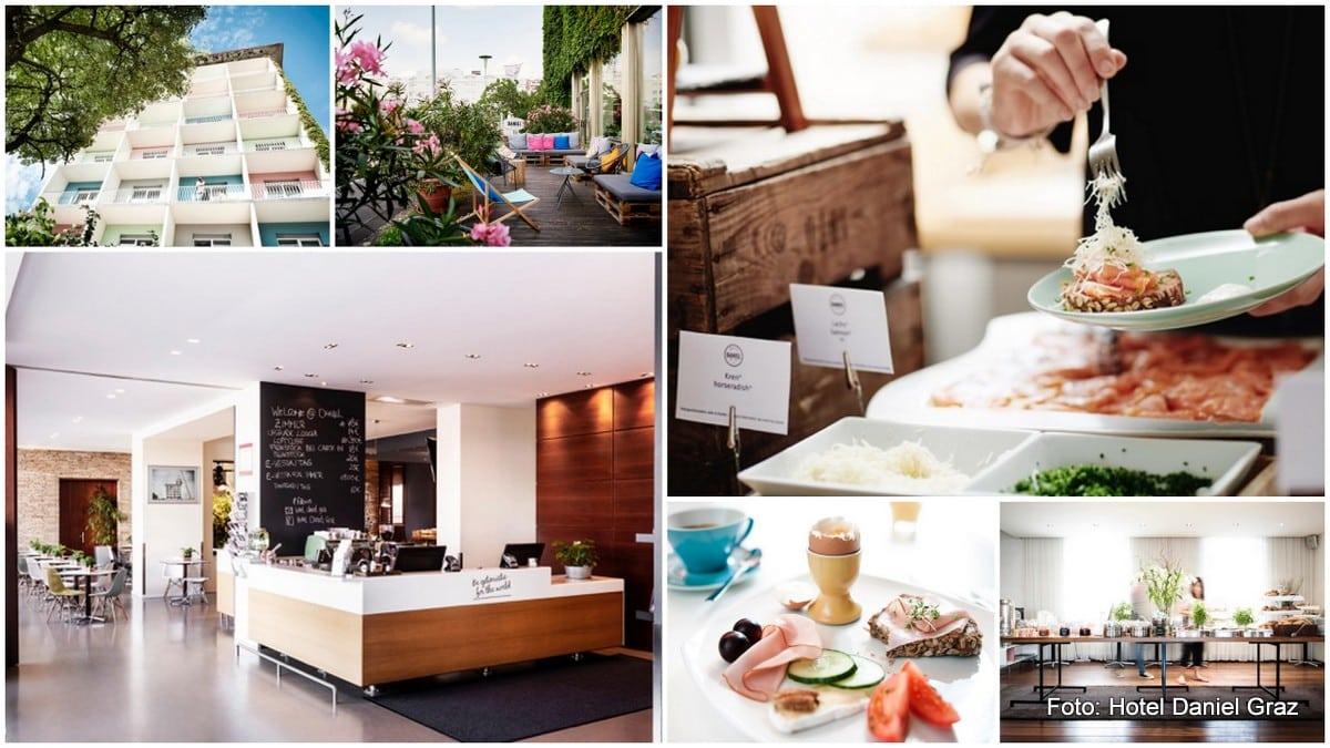 Frühstück im Grazer Hotel Daniel: Frühstücksbuffet, Außenansicht des Hotels, die Terrasse und ein Frühstücksteller